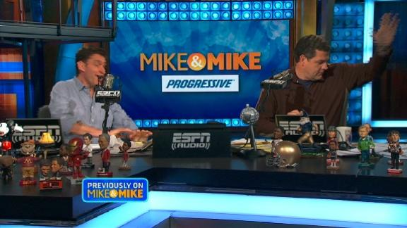 Mike and Mike celebration dance after answering Jayson Stark's trivia question correctly.